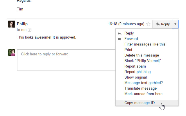 Gmail message ID finder