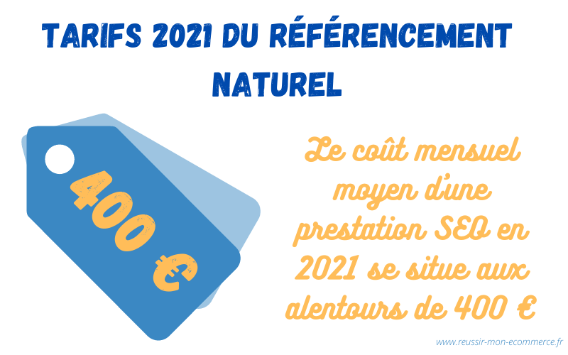 Tarifs 2021 du référencement naturel : le coût mensuel moyen d'une prestation SEO en 2021 se situe aux alentours de 400€.