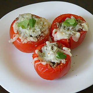 Baked Stuffed Tomatoes with Beef & Mozzarella.