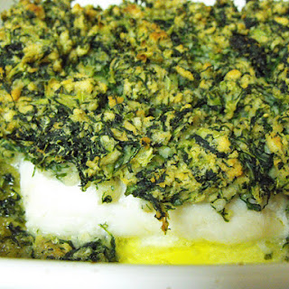 Hake Medallions Topped with Green Cabbage.