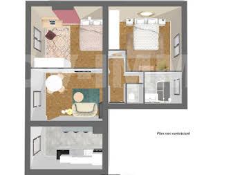 Appartement 3 pièces 47,13 m2