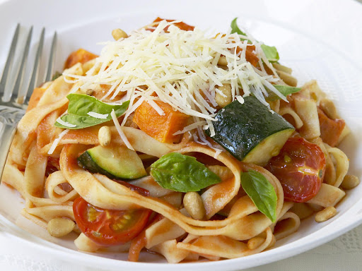 Roasted Sweet Potato, Tomato and Zucchini Pasta