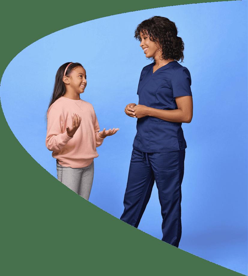 Child talking to provider