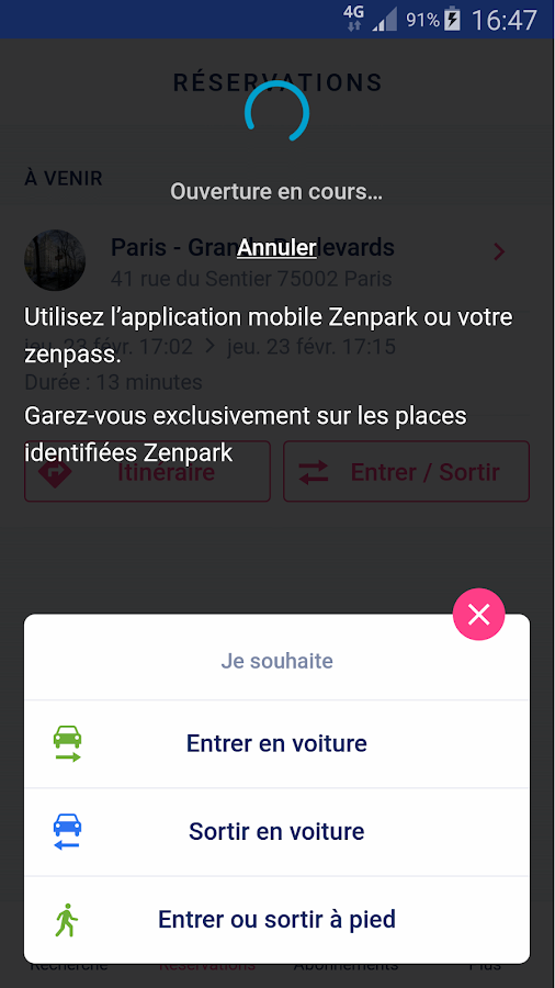 Zenpark, book a parking space- screenshot