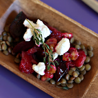 Roasted Beets, Lentils & Grapefruit Salad with Goat Cheese & Walnuts Recipe