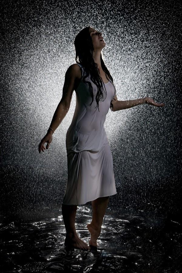 Water by Rob James - People Portraits of Women ( water, nipples, splash, dark, low-key, wet, sheer, rain )
