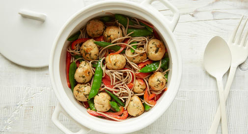 New-mom meal: Asian chicken meatballs with soba noodles & sugar snap peas