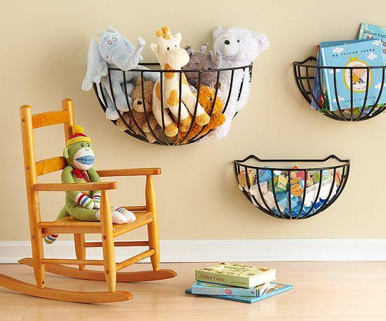 I love the idea of re-purposing flower planters to hold kids toys!