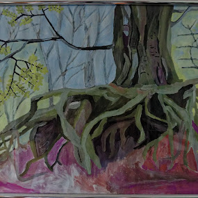 tree trunk roots by Paul Robin Andrews - Painting All Painting ( trunk, tree, roots, water painting )