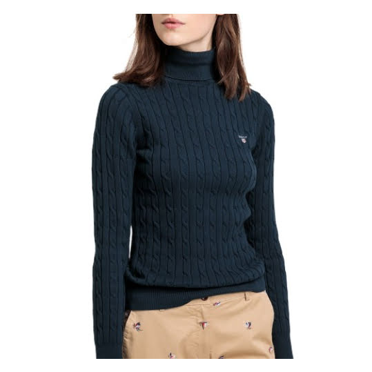 Gant Stretch Cotton Cable Turtle Neck Evening Blue. Strl XS