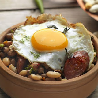 Egg with Cured Pork and Beans