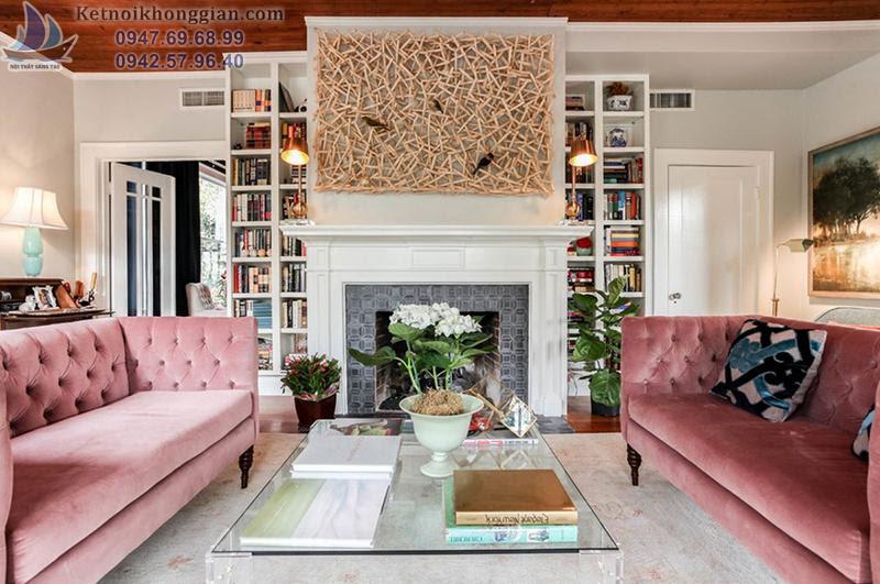 thiết kế nội thất phòng khách với sofa hồng nhẹ