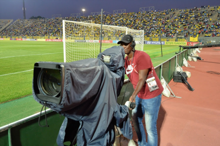 SuperSport Tv crew member on duty during the Absa Premiership match between Mamelodi Sundowns and Supersport United at Lucas Moripe Stadium on February 24, 2018 in Pretoria, South Africa.