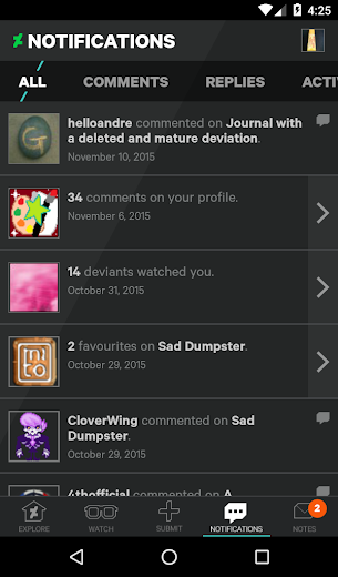 Screenshot 4 for DeviantArt's Android app'