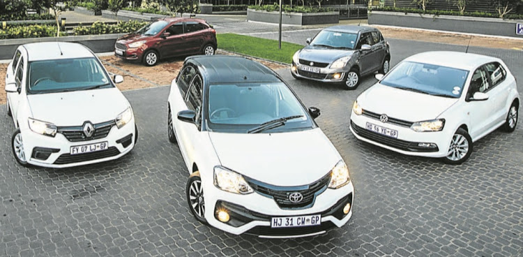 Clockwise from left: Renault Sandero, Ford Figo, Suzuki Swift, VW Polo Vivo and Toyota Etios.