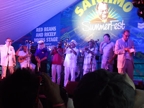Photo: The Fest finale: 7 trumpeters play a trubite to Louis Armstrong, including Ruffins, Yoshio Toyama, David Lionheart, and Kid Mervin