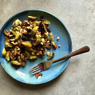Sauteed Brussels Sprouts with Garlic and Pine Nuts.