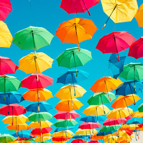 Umbrella Street by Autumn Wright - City,  Street & Park  Street Scenes ( art, umbrella, abstract, colorful, street photography )