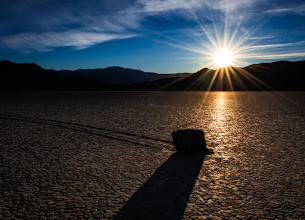 Photo: Basking In The Sun  Here's another shot from the Racetrack in Death Valley. One of the lone Sailing Stones sits in its own path casting long shadows as the sun bids us farewell with it's beautiful rays filling the sky one last time for the day.  #dvonewaytrip13
