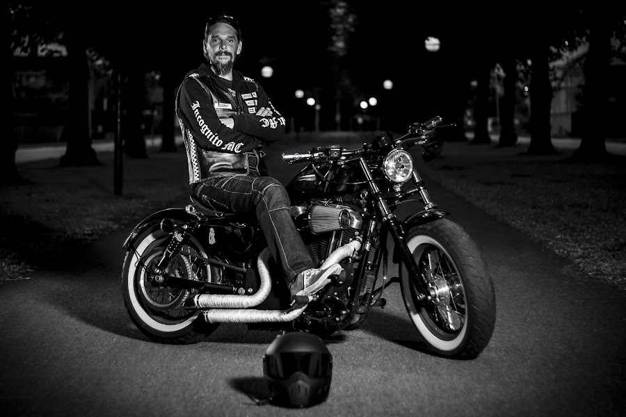 The Biker by Jerry Sjödin - People Portraits of Men ( harley davidson, black and white, biker, motorcycle, dark background, helmet, man,  )