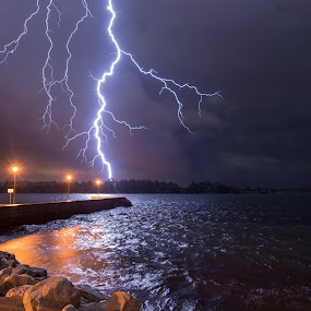 Epic bolt by Matic Cankar - Landscapes Weather ( clouds, water, lightning, sea, storm, coast,  )