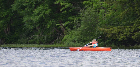 Photo: Paddler at Ricker Pond State Park by Linda Carlsen Sperry