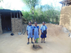 Photo: Going off to school! In front is an orange tree we planted... Not sure how successful that will be though...