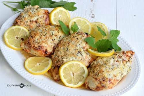 """Lemon Parmesan Chicken""""This is a sunny flavored Parmesan encrusted chicken is one..."""