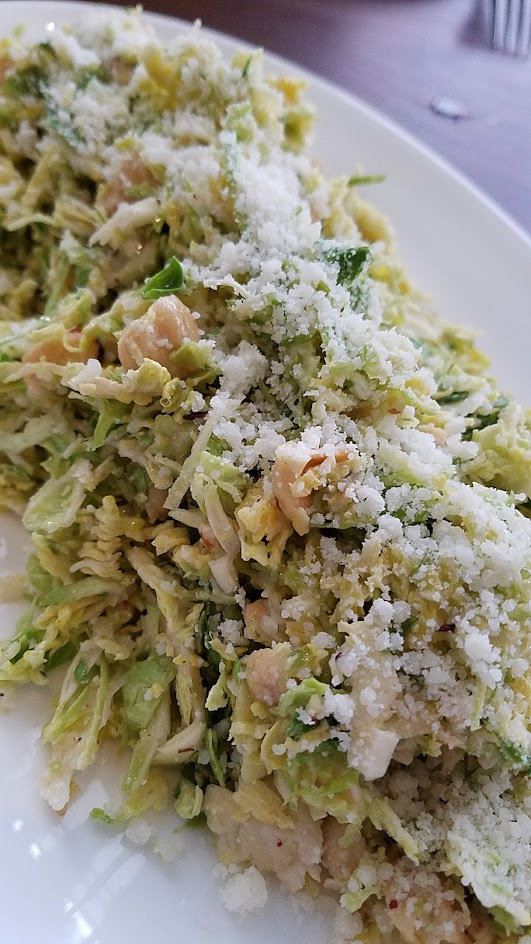 Headwaters Shaved Brussels Sprouts Salad with hazelnuts, pecorino, and lemon