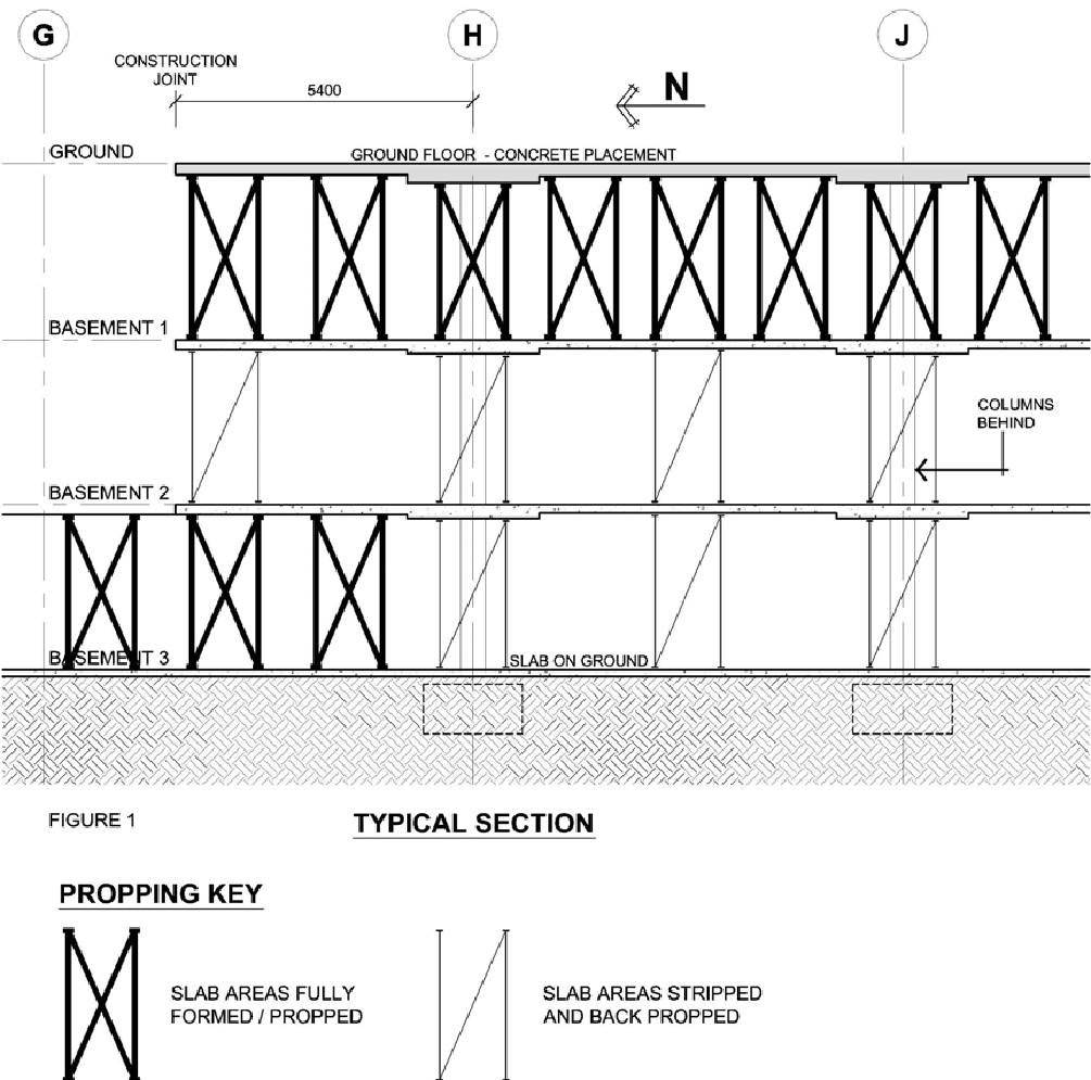 Figure 1 shows a typical section showing the status of construction at the time of the incident when concrete was being placed to the Ground Floor slab.