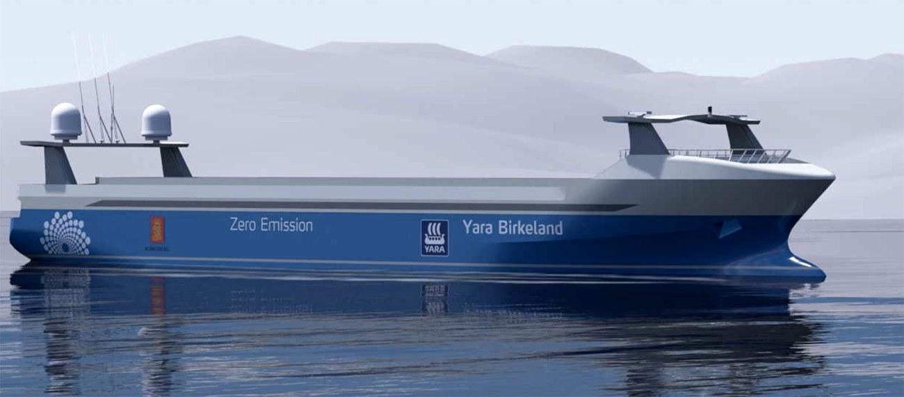 imagem do navio autônomo Yara Birkeland