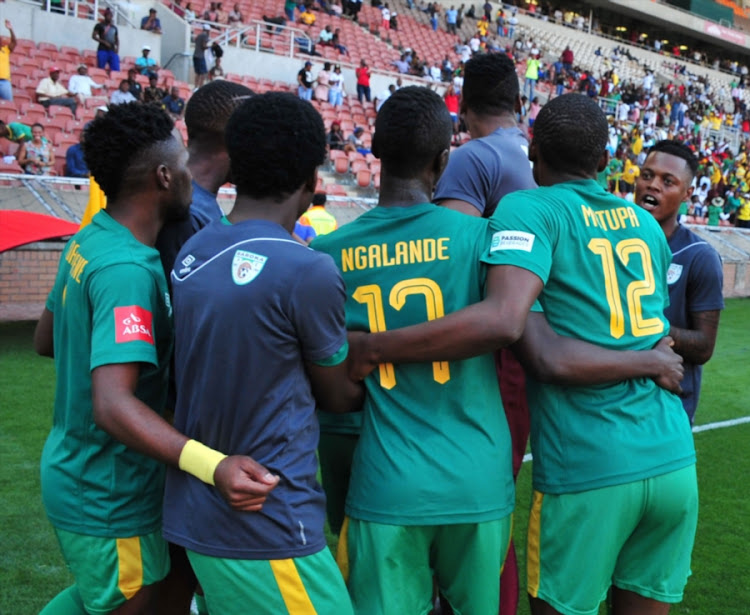 Mpho Kgaswane of Baroka FC celebrate with his teammates after scoring a goal during the Absa Premiership match between Baroka FC and Free State Stars at Peter Mokaba Stadium on September 16, 2017 in Polokwane, South Africa.