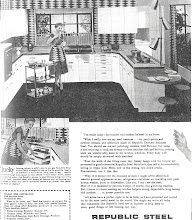 Photo: An ad for steel kitchen cabinets,