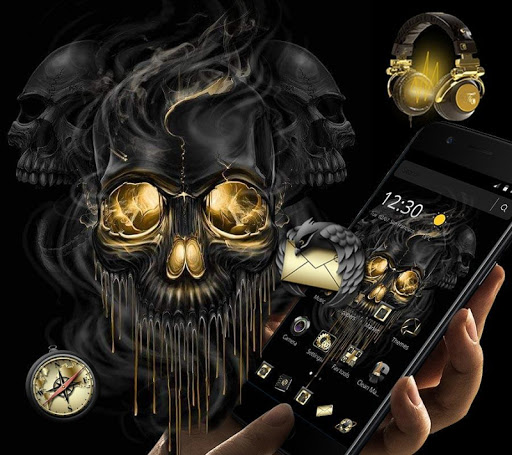 Gold Black Horrific Skull Theme 1.1.7 screenshots 2