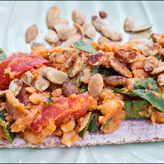 Fast Chickpea Pumpkin Spread for Crackers, Salad, Sandwiches, Pasta, Stir fries