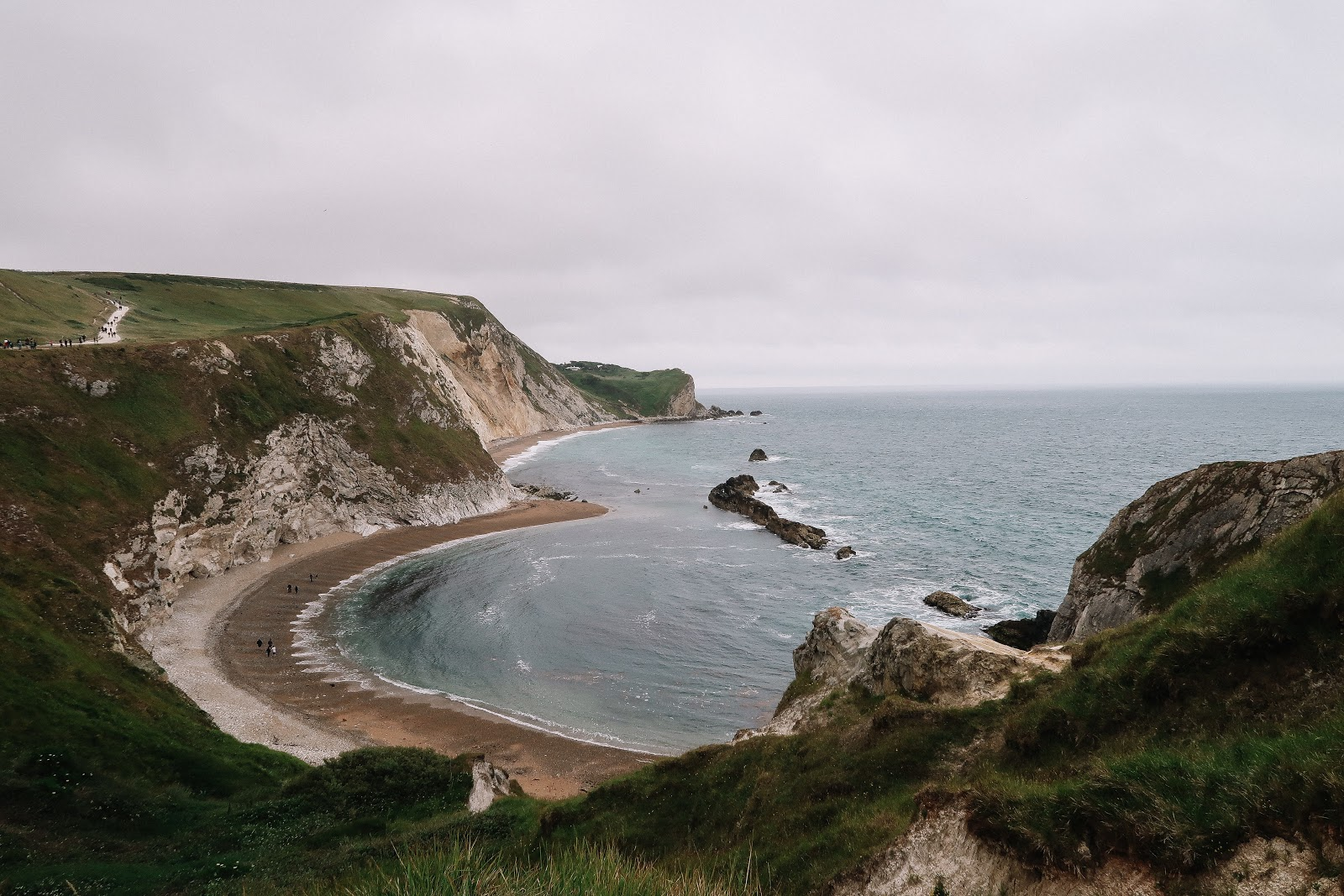Lulworth Cove on a typical English summers day