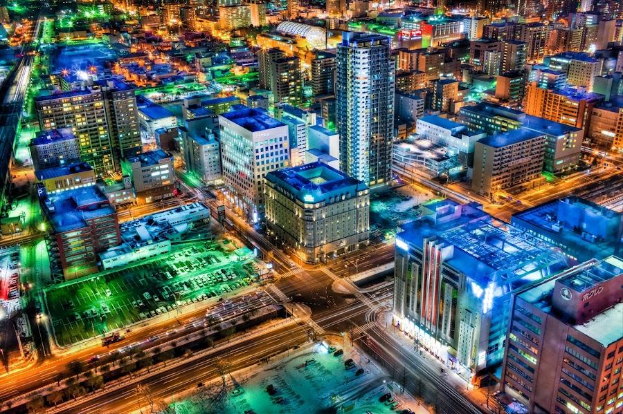 Sapporo by Eydie Wong - City,  Street & Park  Vistas ( lights, building, japan, night view, hokkaido, asia, sapporo, daimaru )