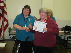 Photo: Madam President, Sharon Robinson, presenting the 10-Year Secretary award to Madam Secretary, Fran Arnold, at the Auxiliary meeting on February 27, 2014.