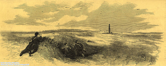 """Photo: """"Union pickets skirmishing with rebel pickets at the 'Chimney,' remains of an old house near Fort Macon."""" From an original sketch by Frank Schell for Leslie's Illustrated."""