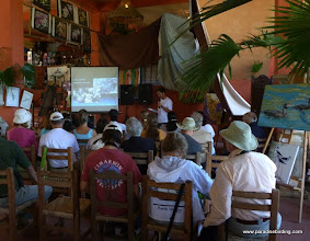 Photo: Carlos Bonilla, giving a presentation on conservation of Military Macaws, Vallarta Botanical Gardens