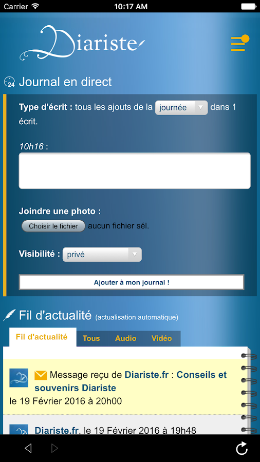 Diariste- screenshot