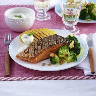 Salmon with Broccoli Almondine.