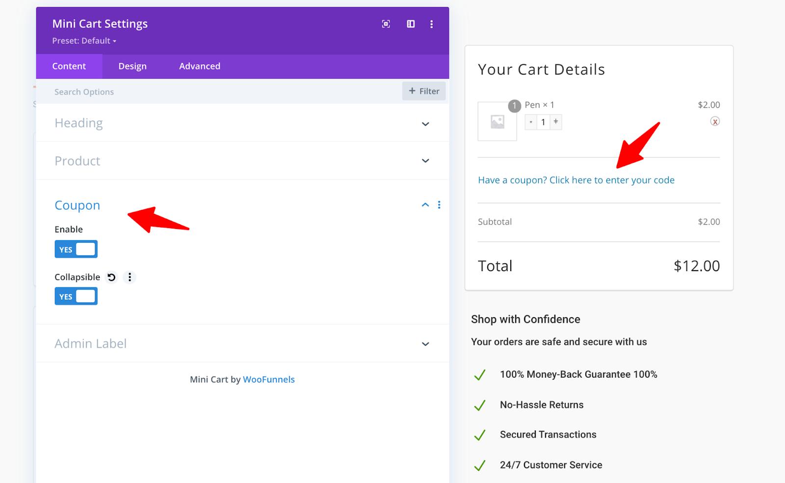 Coupon - content settings for Divi WF Mini Cart module