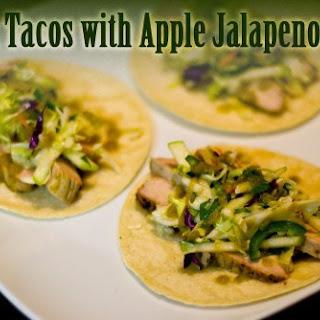 Pork Tacos with Apple Jalapeno Slaw.