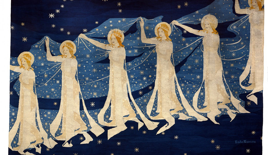 Frida Hansen's Milky Way tapestry consiting of women holding a drapery of stars in a blue backdrop