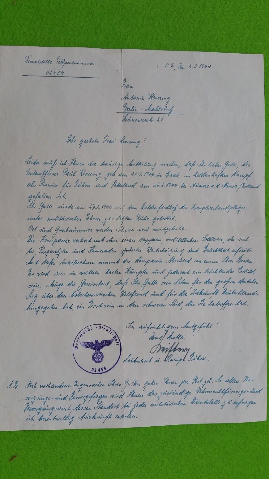 Wehrmachts-Dienst-Post - Brief an die Angehörigen von Gefallenen - 2.3.1944