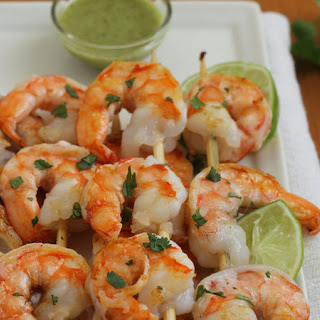 Grilled Shrimp with Cilantro Sauce.