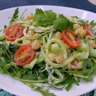 Zucchini Salad With Creamy Avocado Dressing.