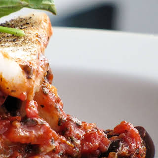 Spicy Puttanesca with White Fish and Farro.