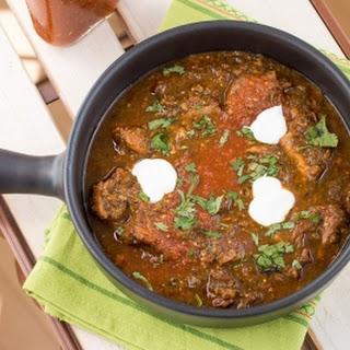 Homemade Roasted Tomatillo-Pork Chili.